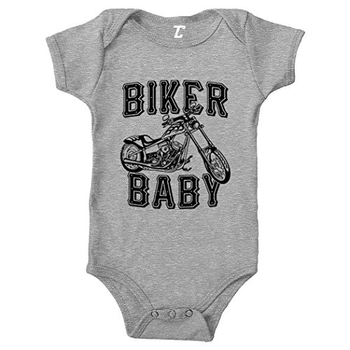 Biker Baby - Tough Gritty Bodysuit (Light Gray, Newborn) -