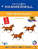 Hammermill Paper, Fore MP, 24lb,  8.5 x 11, Letter, 96 Bright, 3 Hole Punch, 500 Sheets / 1 Ream (101287), Made In The USA