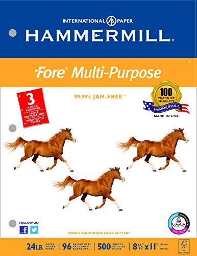 Hammermill Paper, Fore MP Paper, 24lb, 8.5 x 11, Letter,  3 Hole Punched, 96 Bright, 500 Sheets / 1 Ream, (101287R), Made In The (Three Hole Punched)