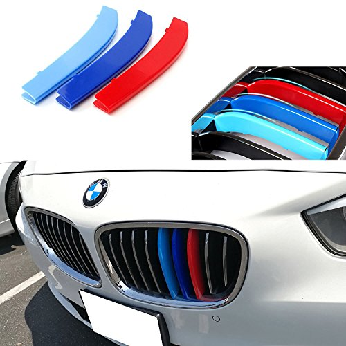 iJDMTOY Exact Fit ///M-Colored Grille Insert Trims For 2009-up BMW F07 5 Series Gran Turismo 5GT Hatchback Front Center Kidney Grilles (9 Beams)