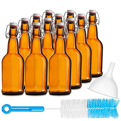 Chef's Star CASE OF 12-16 oz. EASY CAP Beer Bottles with Funnel and Cleaning Brush - AMBER (Bottle Chefs)