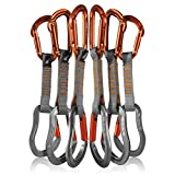 Fusion Climb 6-Pack 11cm Quickdraw Set with Contigua Orange Straight Gate Carabiner/Techno Zoom Orange Straight Gate Carabiner