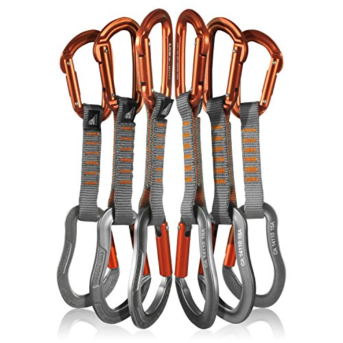 Fusion Climb 6-Pack 11cm Quickdraw Set with Contigua Orange Straight Gate Carabiner/Techno Zoom Orange Straight Gate Carabiner by Fusion Climb