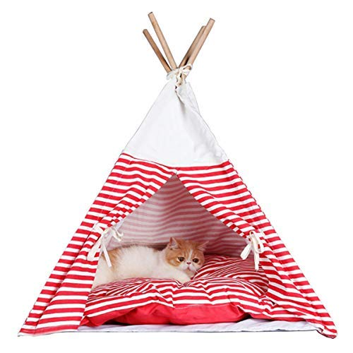 - Penck Pet Supplies Washable Durable Navy Stripe Style Pet House Tent and Pet Bed with Strong Sticks and Comfortable Mat Set for Little Dogs and Cats (Tent with Cushion)