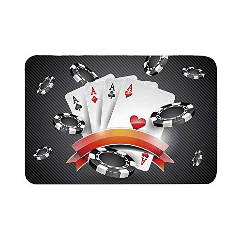 C COABALLA Poker Tournament Decorations Durable Door Mat,Artistic Display Spread Chips with Poker Cards Lifestyle Decorative for Living Room,17.7