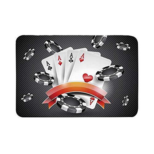 C COABALLA Poker Tournament Decorations Durable Door Mat,Artistic