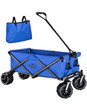 TecTake 800576 - Carro de Mano, Estructura de Tubos de Acero, Plegable y con Mango (Azul   No. 402912)