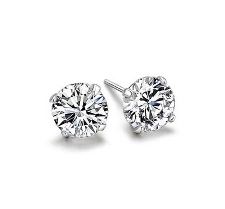 niceeshop(TM) 1 Pair Sterling Silver 6MM Round Cubic Zirconia Anti allergic Crystal Stud Earrings-White iB5nz1JUz
