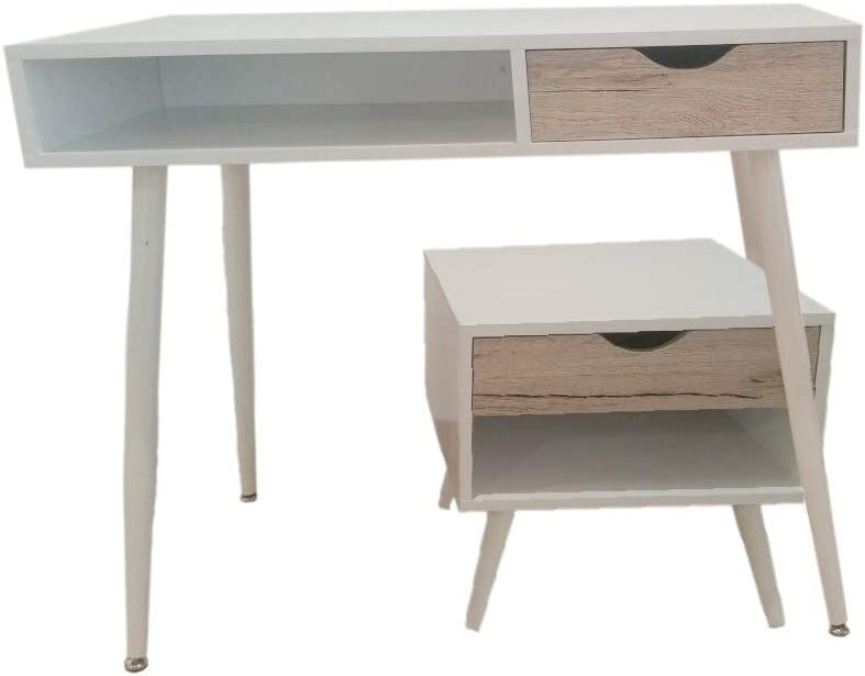 College Table en métal et Bois avec tiroirs Style Nordique pour télétravail, étude, Bureau, Bureau, Chambre d'enfant, Chambre à Coucher