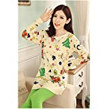 KAKA(TM) Women's Fashion Cartoon Colorful Pattern Pure Cotton Pyjamas Homewear Sleepwear Set Long Sleeve Long Pants -L