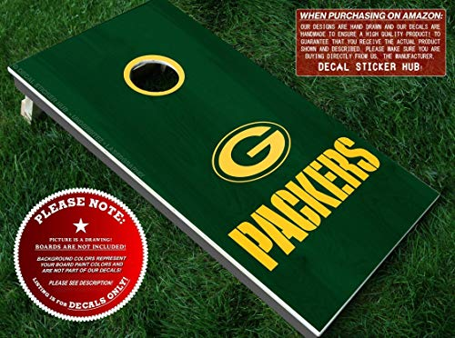 Green Bay Packers Cornhole Decals | HALF SET | Color Choice | Large Decals + Ring Sticker | DIY Cornhole Board Building & Decorating | Decal Sticker Hub]()