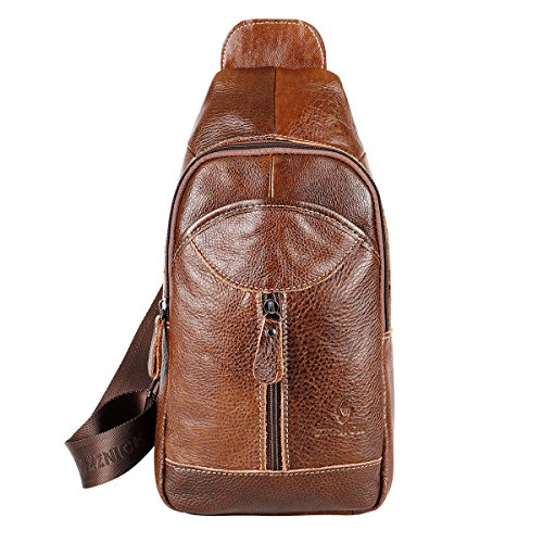 Sling Bag Backpack Genuine Leather Shoulder Backpack for Women Men Outdoor Travel Daypacks - - Backpack Sling Leather