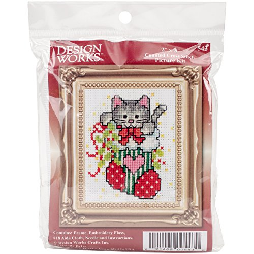 Stocking Cat W/Frame Mini Counted Cross Stitch Kit-2