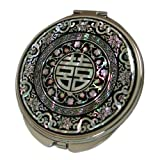 Mother of Pearl Charm Compact Cosmetic Pocket Purse Makeup Mirror with Chinese Double Joy Character Design