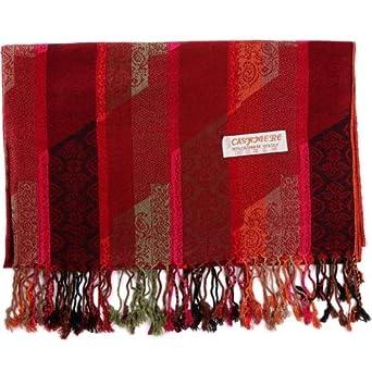 22083592d36 HITSAN INCORPORATION Pashmina Silk Scarf Paisley Stripes Shawl Wrap ...