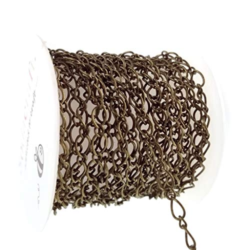 Sodacraft Antique Bronze Figaro Link Chain for Jewelry Making- Nickel Free- 4mm (5.5 x4)
