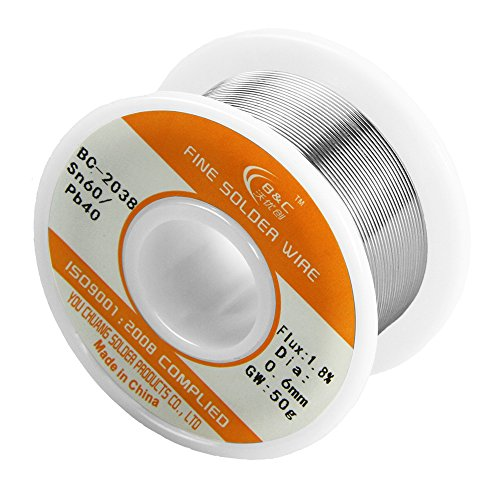 : WYCTIN 60-40 Tin Lead Rosin Core Solder Wire for Electrical Solderding and DYI 0.0236 inches(0.6mm) 0.11lbs