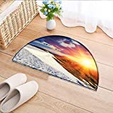 Semicircle Area Rug Sunshine Clouds Nature Mountain and Valley Sun Divider in College Landscape Home White Indoor/Outdoor Semicircle Area Rug W43 x H30 INCH