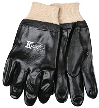 Kinco 7370 PVC Coated Knit Wrist Glove with Smooth Finish, Work, Large, Black (Pack of 6 Pairs)
