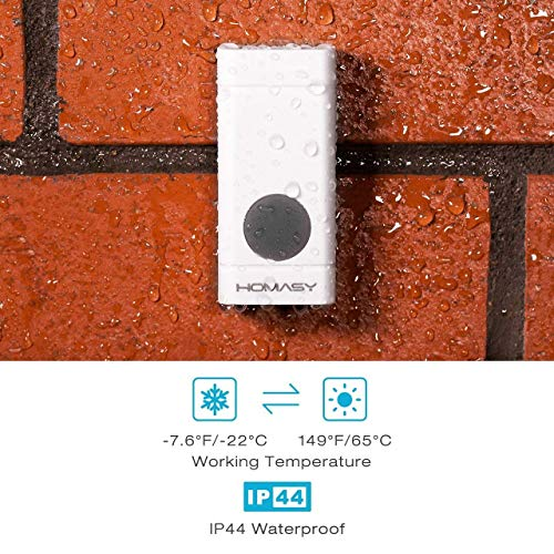 1 Plug-In Receiver /& 1 Waterproof Push Button Transmitter Golden Homasy Wireless Doorbell Kit Operating at 600-feet Range with Over 50 Chimes 4 Levels of Adjustable Volume