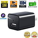 AC Adapter Hidden Camera, Motion Activated 32GB Internal Memory, Loop Recording, 1080P HD Spy Gadgets, Nanny Cameras with Motion Detector, 2017 Update Version