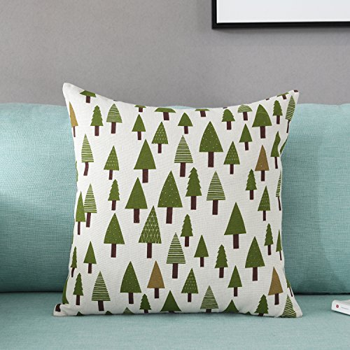 - TAOSON Green Trees Pattern Cotton Flax Soft Home Decorative Throw Cushion Cover Pillow Cover Pillowcase with Hidden Zipper Closure Only Cover No Insert 18x18 Inch 45x45cm