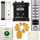 Access Control System, ZOTER Waterproof IP65 Keypad Reader RFID ID Card 125Khz Metal Button + Electric Magnetic Door Lock