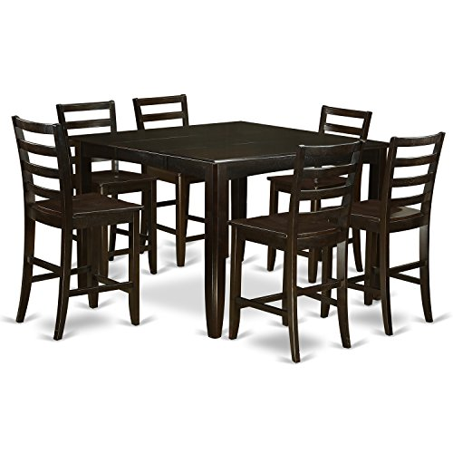 East West Furniture FAIR7-CAP-W 7-Piece Counter Height Dining Table Set