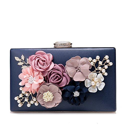 Evening Clutch Purses Women's Satin Flower Pearl Beaded Evening Handbag