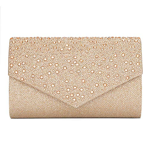 (CurvChic Women Evening Bag Clutch Rhinestone Envelope Party Handbag Bridal Prom Purse (Champagne))