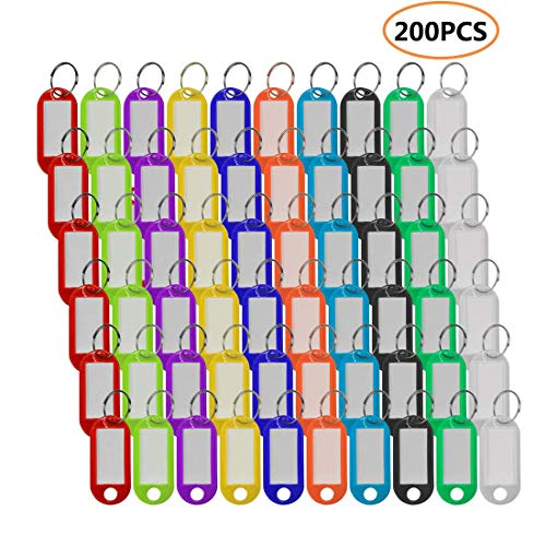 Plastic Key Tags with Split Ring Label Window, Assorted Colors, 200 Pcs