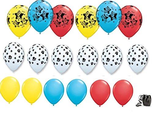 Paw Patrol Party Balloons, 18 pc Bundle plus Ribbon - Everest Black Ribbon