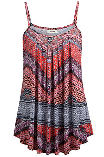 BEPEI Womens Sleeveless Tops, Halter Shirts Floral Print Tanks Pleated Blouses,Orange Floral,Medium