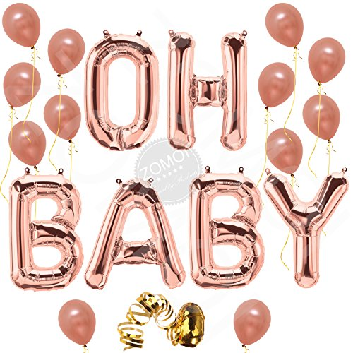 Oh Baby Letter Balloons, Rose Gold Baby Girl/Boy Shower Banner | Baby Shower Party Decorations Backdrop | Gender Reveal Party Balloons | 16 Inch, Mylar Foil Letter with 12 Latex Rose Gold Balloons