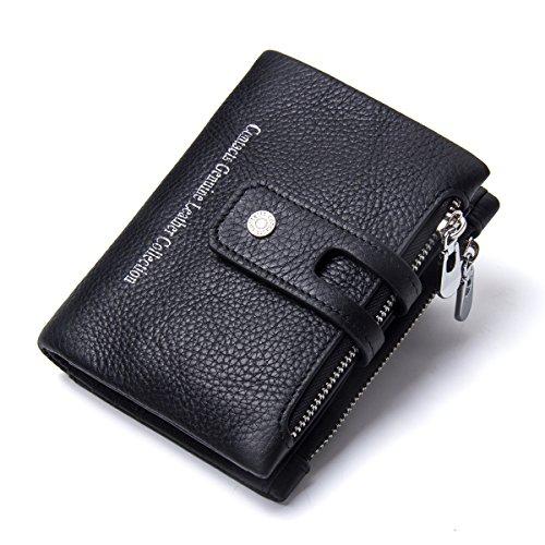 Pocket Coin noir Hommes Zipper Cuir monnaie Véritable Bifold Noir Porte Double Contacts ZYA0Oq