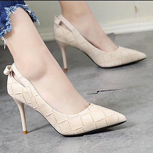 KHSKX-Weiß 9 Cm Fliege Einzelne Schuhe Elegante Süße Grid Ausgesetzt Tipp Licht Fein Ist Mit Der High Heel Schuhe 36