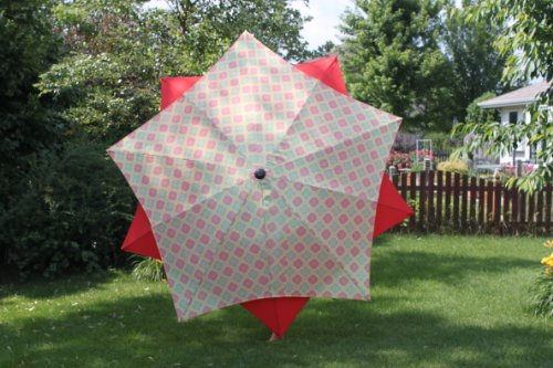 Lotus Umbrella - 8' Exclusive Wind Resistant Lotus Patio Market Umbrella - Sunburst Red