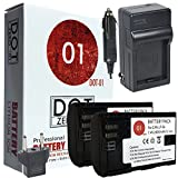 DOT-01 2x Brand 2400 mAh Replacement Canon LP-E6 Batteries and Charger for Canon EOS 80D DSLR Camera and Canon LPE6
