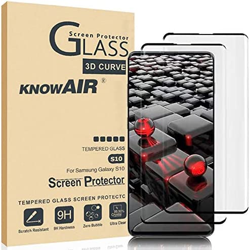 KNOWAIR Galaxy S10 Screen Protector,Full Coverage Tempered Glass[2 Pack] [Anti-Scratch][High Definition][Designed for Ultrasonic Fingerprint] Tempered Glass Screen Protector Suitable for Galaxy S10