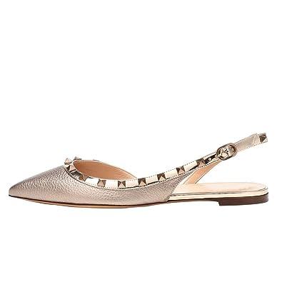 d53613b6db Themost Women Chic Rivets Stud Pointed Toe Flats Slingback D'Orsay Comfort  Flat Sandals Studded