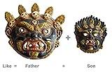 Combo of Tibetan Devil Mask In Antique Finish/Indian Bheru Mask For Protection From Bad Evils Devil Face Mask