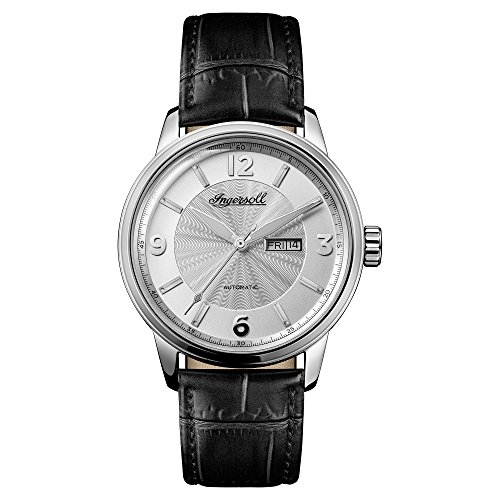 Ingersoll Men's Automatic Stainless Steel and Leather Casual Watch, Color:Black (Model: I00202)