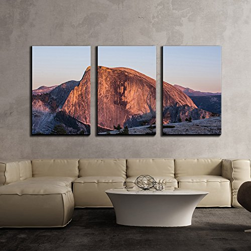 wall26 - 3 Piece Canvas Wall Art - Mountain Landscape,Half Dome in Yosemite National Park, California,USA - Modern Home Decor Stretched and Framed Ready to Hang - 16
