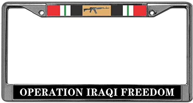 Operation Iraqi Freedom Chrome Metal License Plate Frame EagleEmblems
