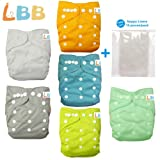 #7: Baby Double Rows of Snaps 6pcs Pack Fitted Pocket Washable Adjustable Cloth Diaper(Netural Color)6BM98