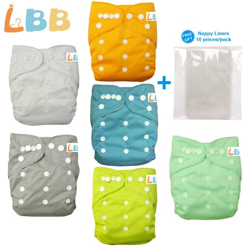Baby Double Rows of Snaps 6pcs Pack Fitted Pocket Washable Adjustable Cloth Diaper(Netural Color)6BM98, AMGrey, One Size from LBB