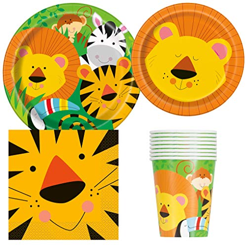 Unique Industries Jungle Safari Animal Friends Birthday Party Supplies Pack for 8 Guests Including Lunch Plates, Dessert Plates, Lunch Napkins, Cups ()