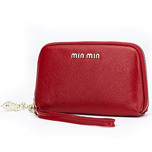 Aladin Leather Evening Clutch Purse, Zip Around Cell Phone Bag Wristlet Wallet (Apple Red Handbag)
