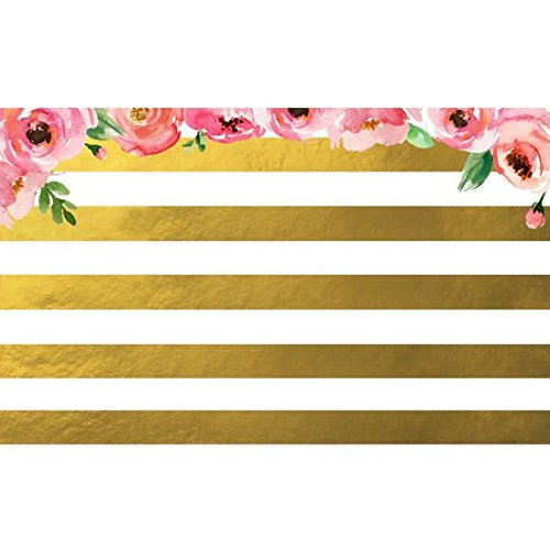 SODIAL 7x5ft Pink Flowers Gold White Stripe Photo Background Vinyl Photography (Pink And Gold Backdrop)
