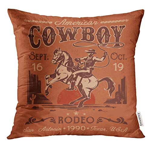 VANMI Throw Pillow Cover Western Rodeo with Cowboy Sitting on Rearing Horse in Retro Style Rider American Decorative Pillow Case Home Decor Square 18x18 Inches Pillowcase